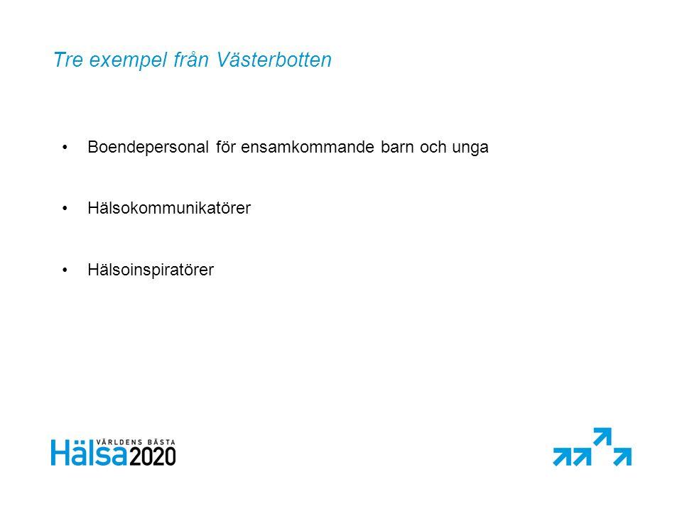 Tre exempel från Västerbotten Boendepersonal för ensamkommande barn och unga Hälsokommunikatörer Hälsoinspiratörer
