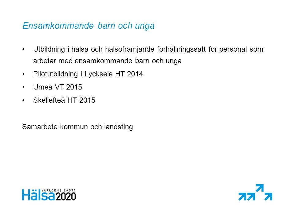 Ensamkommande barn och unga Utbildning i hälsa och hälsofrämjande förhållningssätt för personal som arbetar med ensamkommande barn och unga Pilotutbildning i Lycksele HT 2014 Umeå VT 2015 Skellefteå HT 2015 Samarbete kommun och landsting