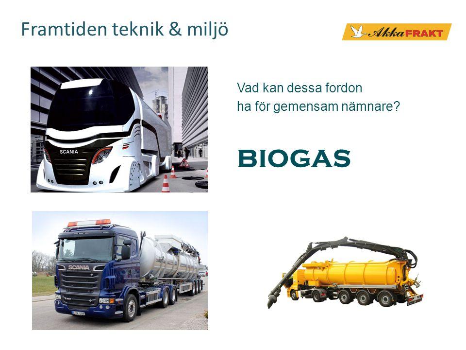 Framtiden teknik & miljö Vad kan dessa fordon ha för gemensam nämnare? BIOGAS