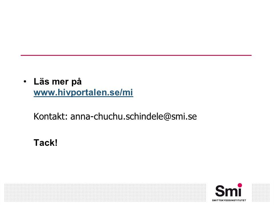 Läs mer på www.hivportalen.se/mi www.hivportalen.se/mi Kontakt: anna-chuchu.schindele@smi.se Tack!