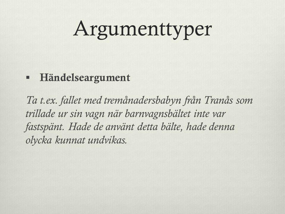 Argumenttyper  Händelseargument Ta t.ex.