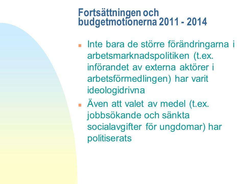 Fortsättningen och budgetmotionerna 2011 - 2014 n Inte bara de större förändringarna i arbetsmarknadspolitiken (t.ex.