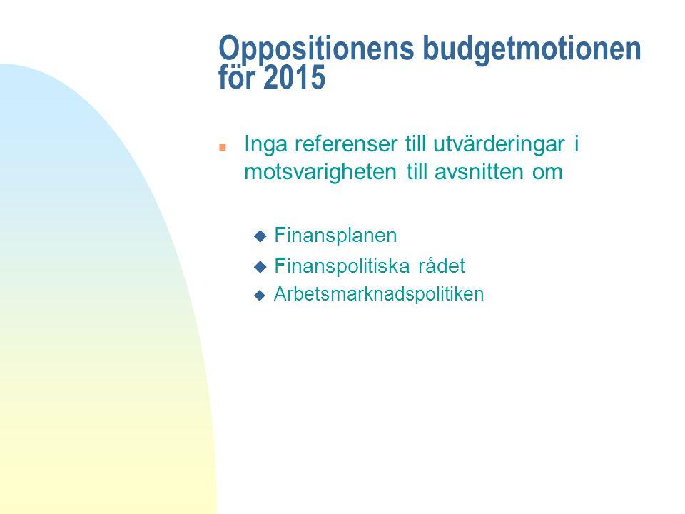 Oppositionens budgetmotionen för 2015 n Inga referenser till utvärderingar i motsvarigheten till avsnitten om u Finansplanen u Finanspolitiska rådet u Arbetsmarknadspolitiken