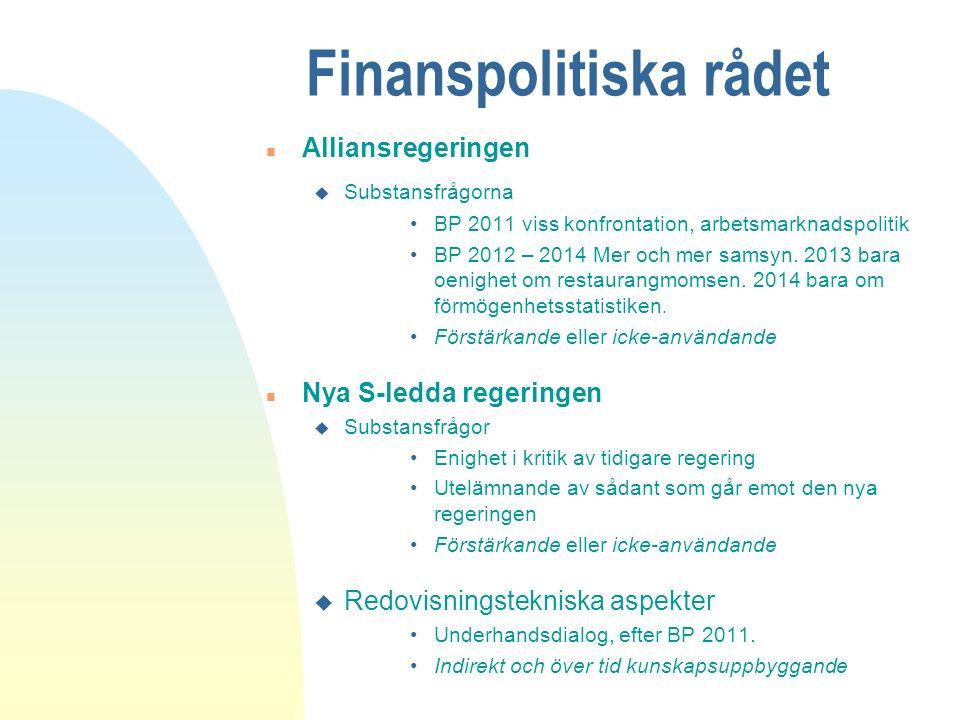 Finanspolitiska rådet n Alliansregeringen u Substansfrågorna BP 2011 viss konfrontation, arbetsmarknadspolitik BP 2012 – 2014 Mer och mer samsyn.