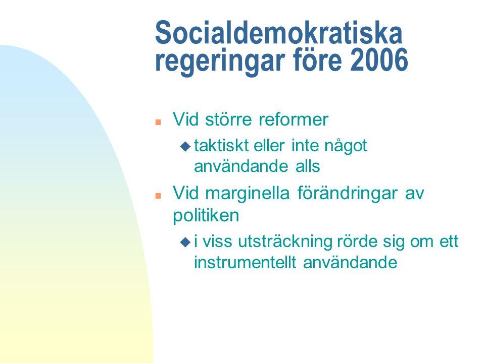 Socialdemokratiska regeringar före 2006 n Vid större reformer u taktiskt eller inte något användande alls n Vid marginella förändringar av politiken u i viss utsträckning rörde sig om ett instrumentellt användande