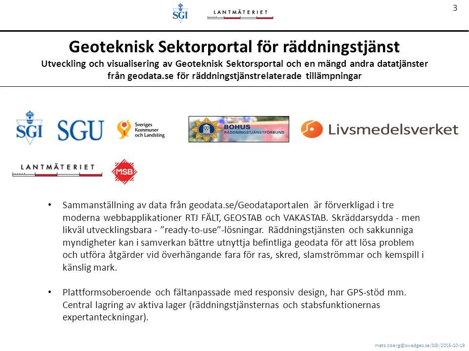 mats.oberg@swedgeo.se/SGI/2015-10-19 3 Geoteknisk Sektorportal för räddningstjänst Utveckling och visualisering av Geoteknisk Sektorsportal och en mängd andra datatjänster från geodata.se för räddningstjänstrelaterade tillämpningar Sammanställning av data från geodata.se/Geodataportalen är förverkligad i tre moderna webbapplikationer RTJ FÄLT, GEOSTAB och VAKASTAB.