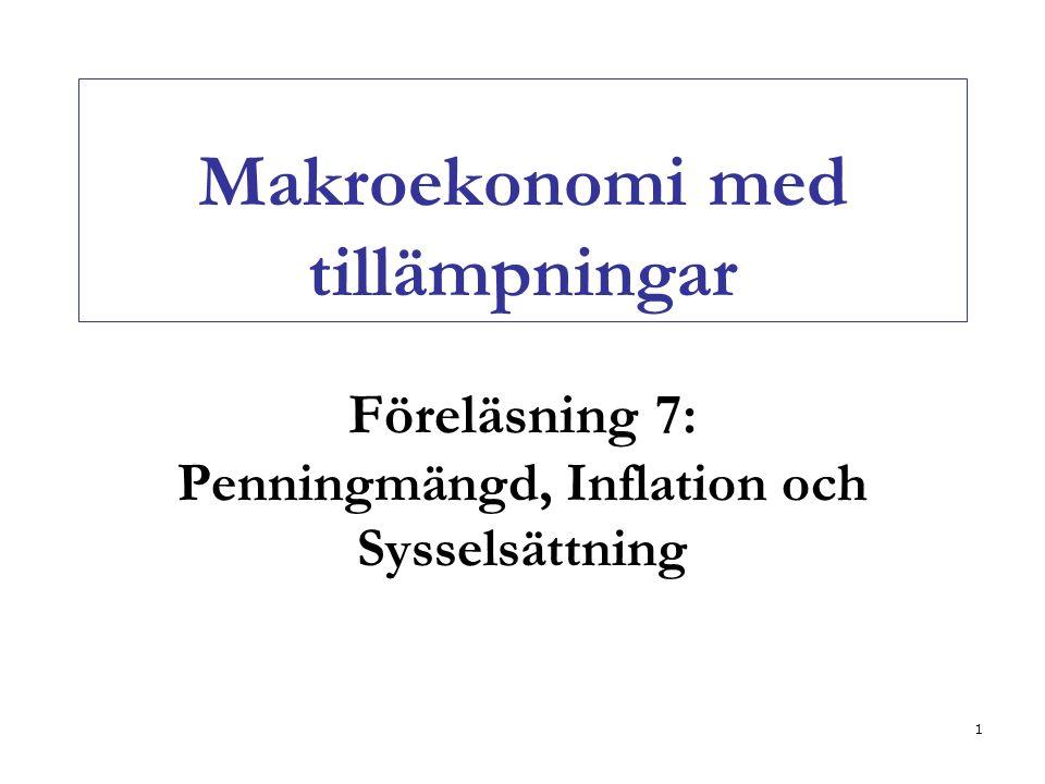1 Makroekonomi med tillämpningar Föreläsning 7: Penningmängd, Inflation och Sysselsättning