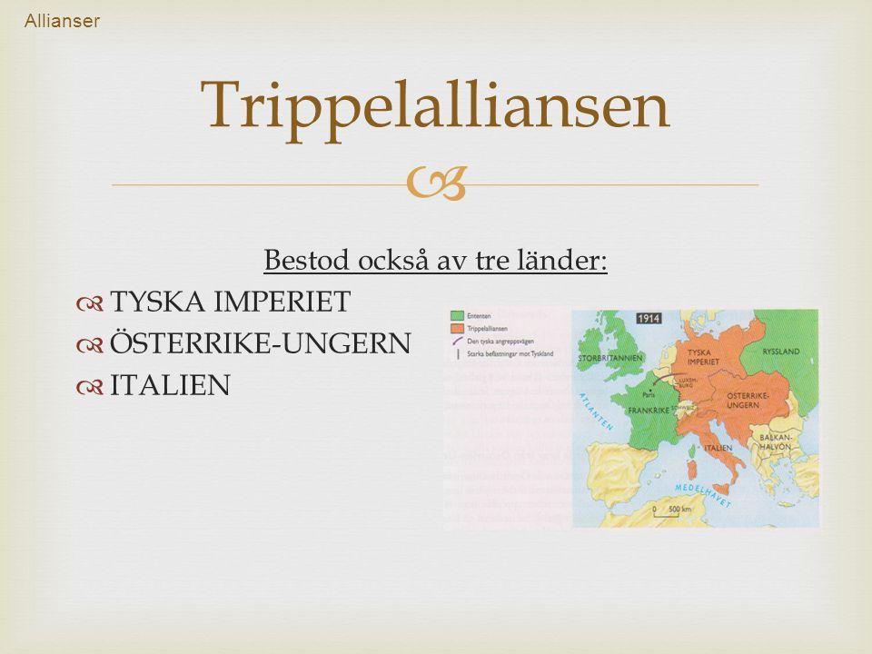  Bestod också av tre länder:  TYSKA IMPERIET  ÖSTERRIKE-UNGERN  ITALIEN Trippelalliansen Allianser
