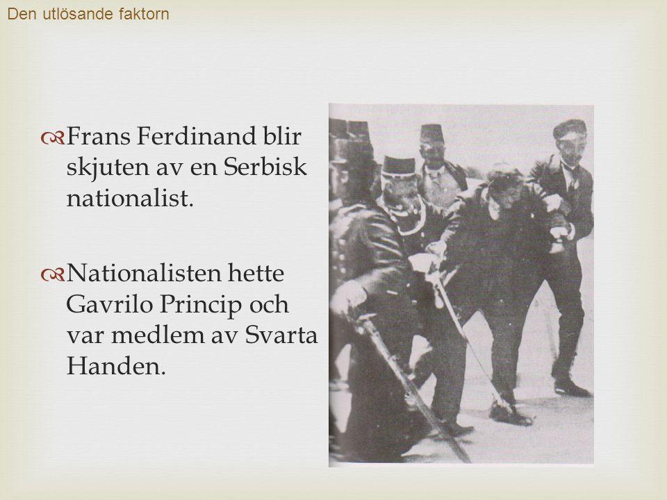  Frans Ferdinand blir skjuten av en Serbisk nationalist.
