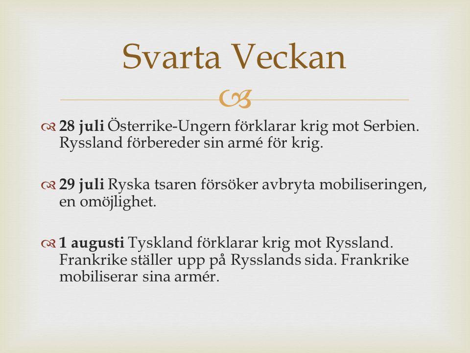   28 juli Österrike-Ungern förklarar krig mot Serbien.