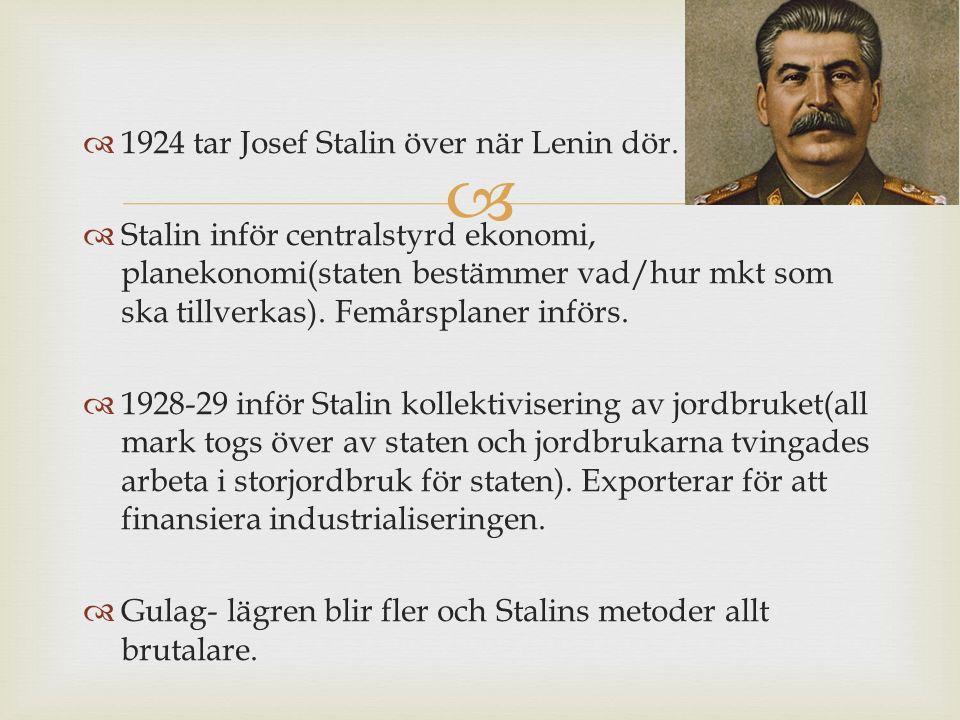   1924 tar Josef Stalin över när Lenin dör.