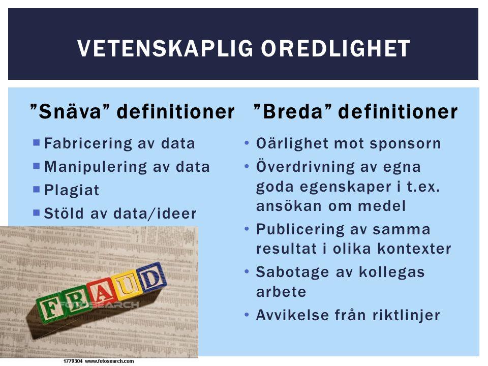 Snäva definitioner  Fabricering av data  Manipulering av data  Plagiat  Stöld av data/ideer Breda definitioner Oärlighet mot sponsorn Överdrivning av egna goda egenskaper i t.ex.
