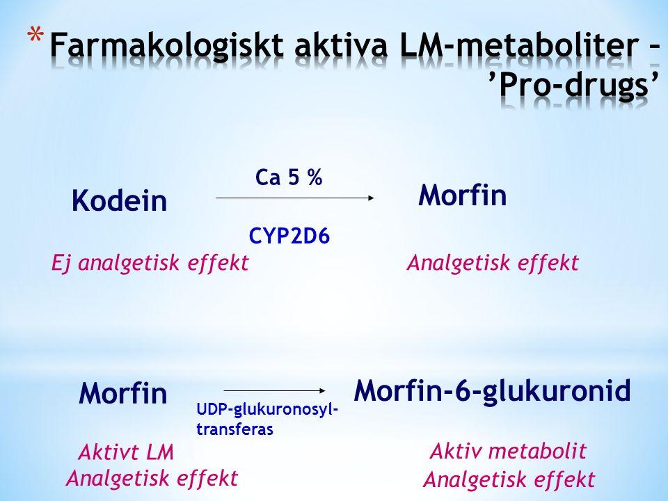 Kodein Morfin CYP2D6 Ca 5 % Ej analgetisk effektAnalgetisk effekt Morfin Morfin-6-glukuronid UDP-glukuronosyl- transferas Aktivt LM Aktiv metabolit Analgetisk effekt