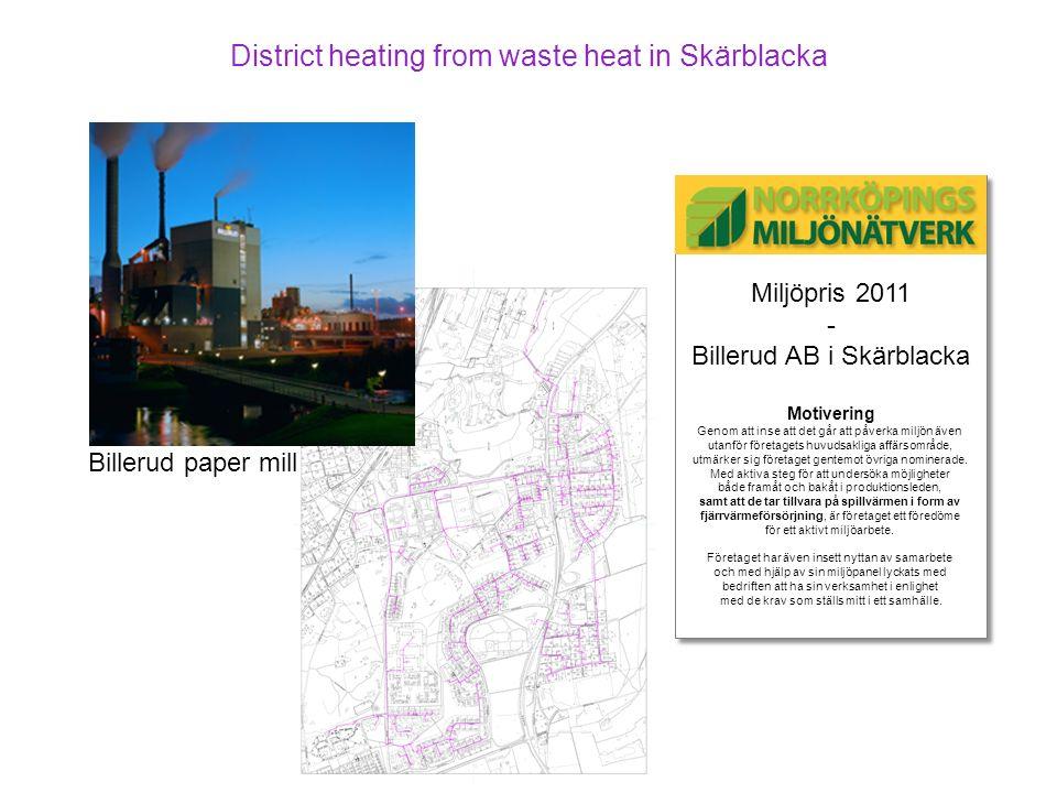 Miljöpris 2011 - Billerud AB i Skärblacka Motivering Genom att inse att det går att påverka miljön även utanför företagets huvudsakliga affärsområde,
