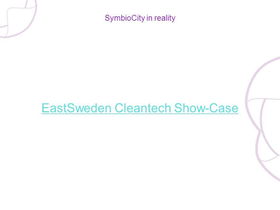 SymbioCity in reality EastSweden Cleantech Show-Case