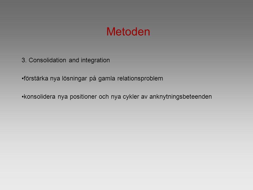 Metoden 3. Consolidation and integration förstärka nya lösningar på gamla relationsproblem konsolidera nya positioner och nya cykler av anknytningsbet