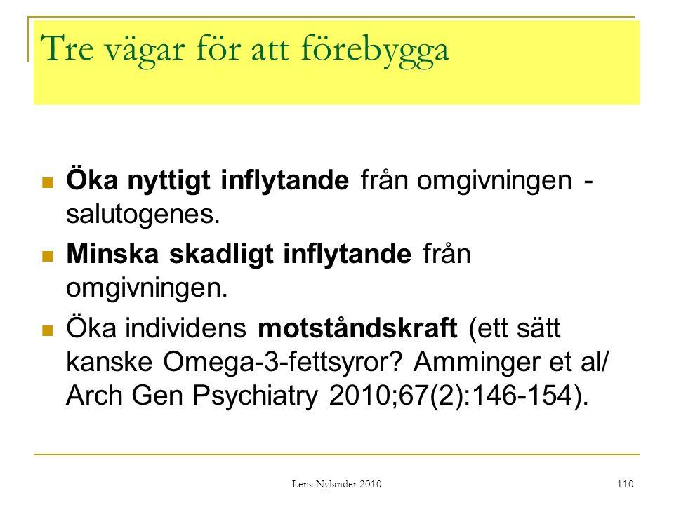 Lena Nylander 2010 110 Tre vägar för att förebygga Öka nyttigt inflytande från omgivningen - salutogenes.
