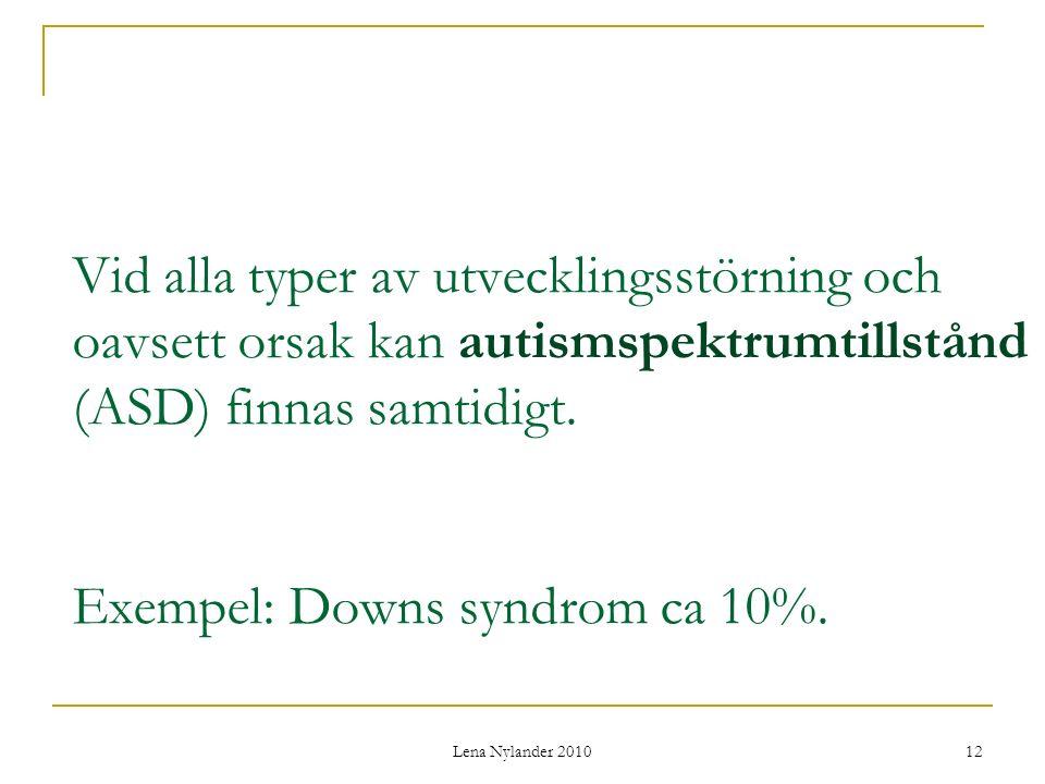Lena Nylander 2010 12 Vid alla typer av utvecklingsstörning och oavsett orsak kan autismspektrumtillstånd (ASD) finnas samtidigt.