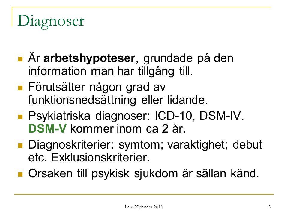 Lena Nylander 2010 3 Diagnoser Är arbetshypoteser, grundade på den information man har tillgång till.