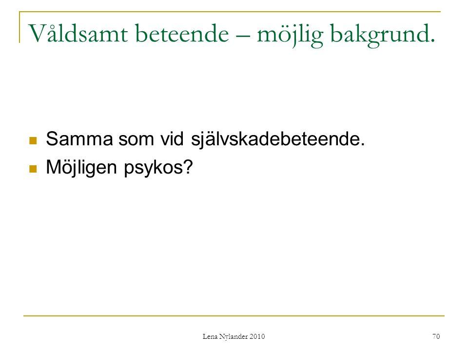 Lena Nylander 2010 70 Våldsamt beteende – möjlig bakgrund.