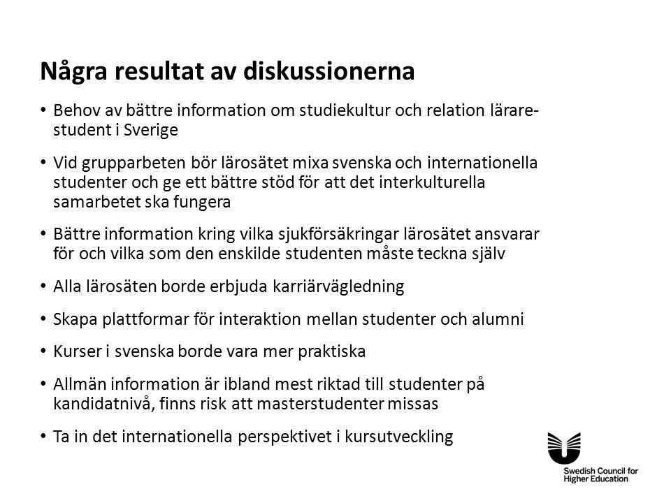 Eng Några resultat av diskussionerna Behov av bättre information om studiekultur och relation lärare- student i Sverige Vid grupparbeten bör lärosätet mixa svenska och internationella studenter och ge ett bättre stöd för att det interkulturella samarbetet ska fungera Bättre information kring vilka sjukförsäkringar lärosätet ansvarar för och vilka som den enskilde studenten måste teckna själv Alla lärosäten borde erbjuda karriärvägledning Skapa plattformar för interaktion mellan studenter och alumni Kurser i svenska borde vara mer praktiska Allmän information är ibland mest riktad till studenter på kandidatnivå, finns risk att masterstudenter missas Ta in det internationella perspektivet i kursutveckling