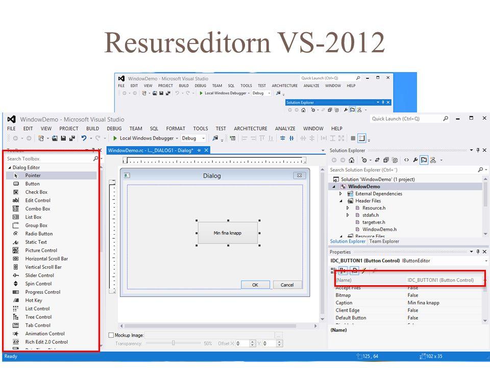 Klicka bara för Dialog och sen New 11 Resurseditorn VS-2012
