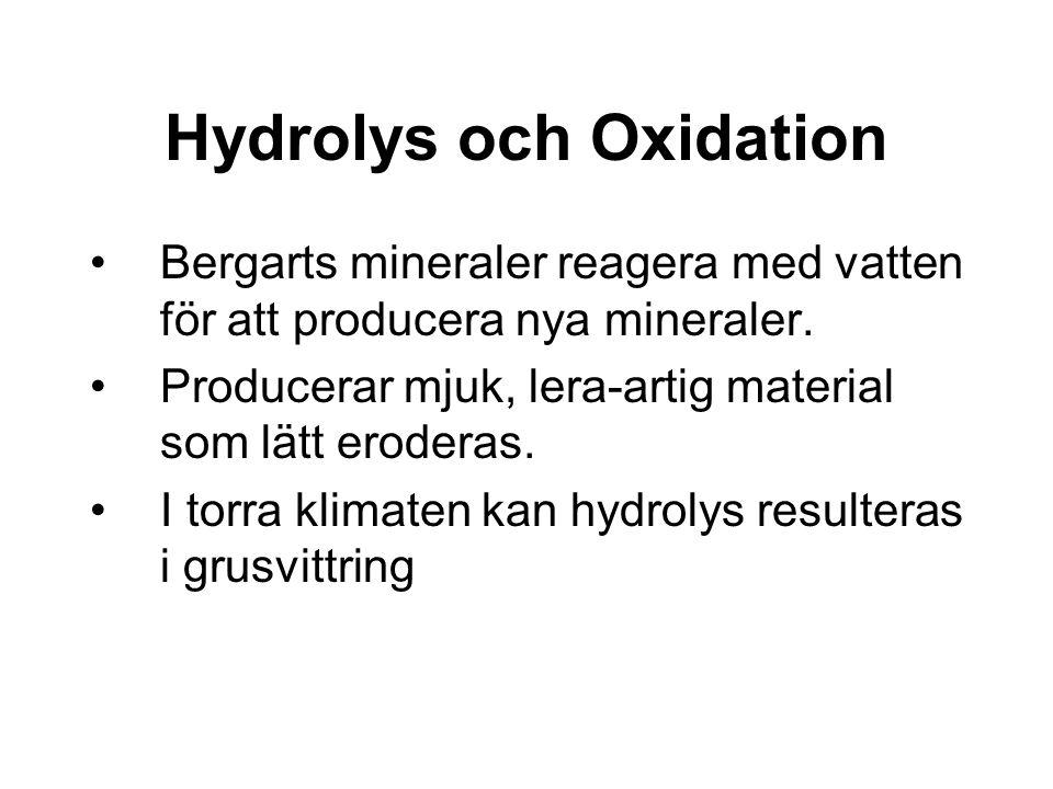 Hydrolys och Oxidation Bergarts mineraler reagera med vatten för att producera nya mineraler. Producerar mjuk, lera-artig material som lätt eroderas.