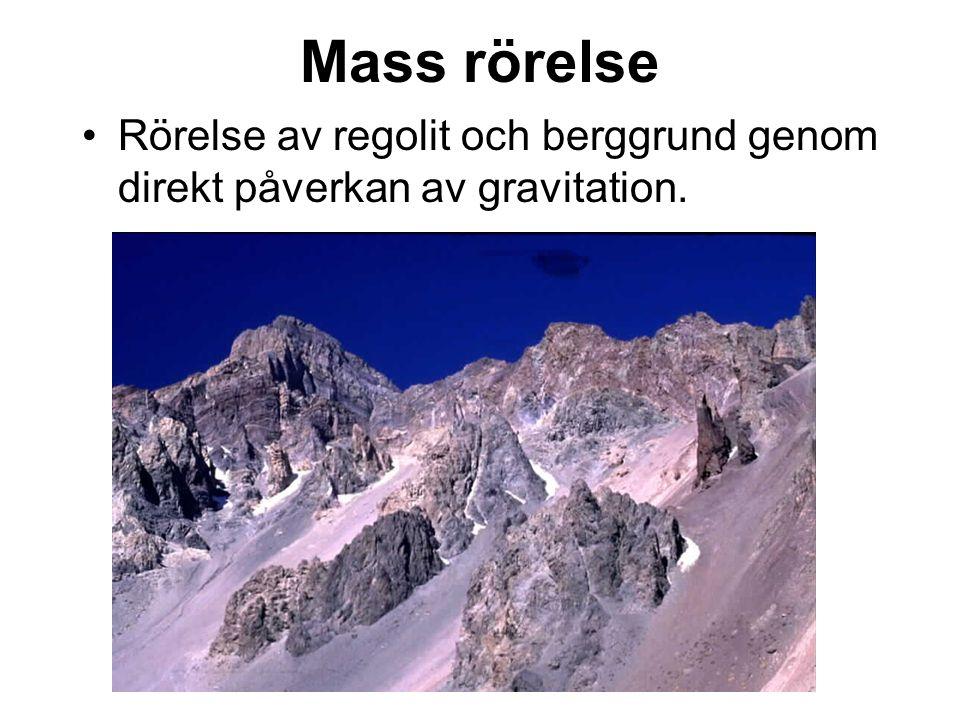Mass rörelse Rörelse av regolit och berggrund genom direkt påverkan av gravitation.
