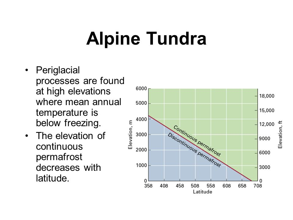 Alpine Tundra Periglacial processes are found at high elevations where mean annual temperature is below freezing.