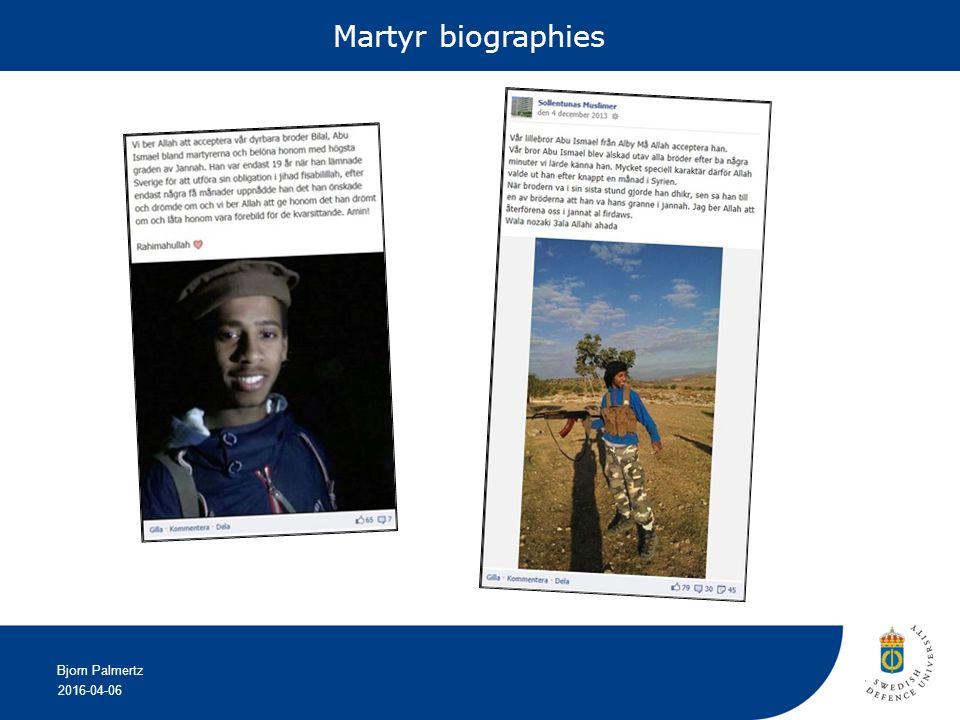 2016-04-06 Bjorn Palmertz Martyr biographies