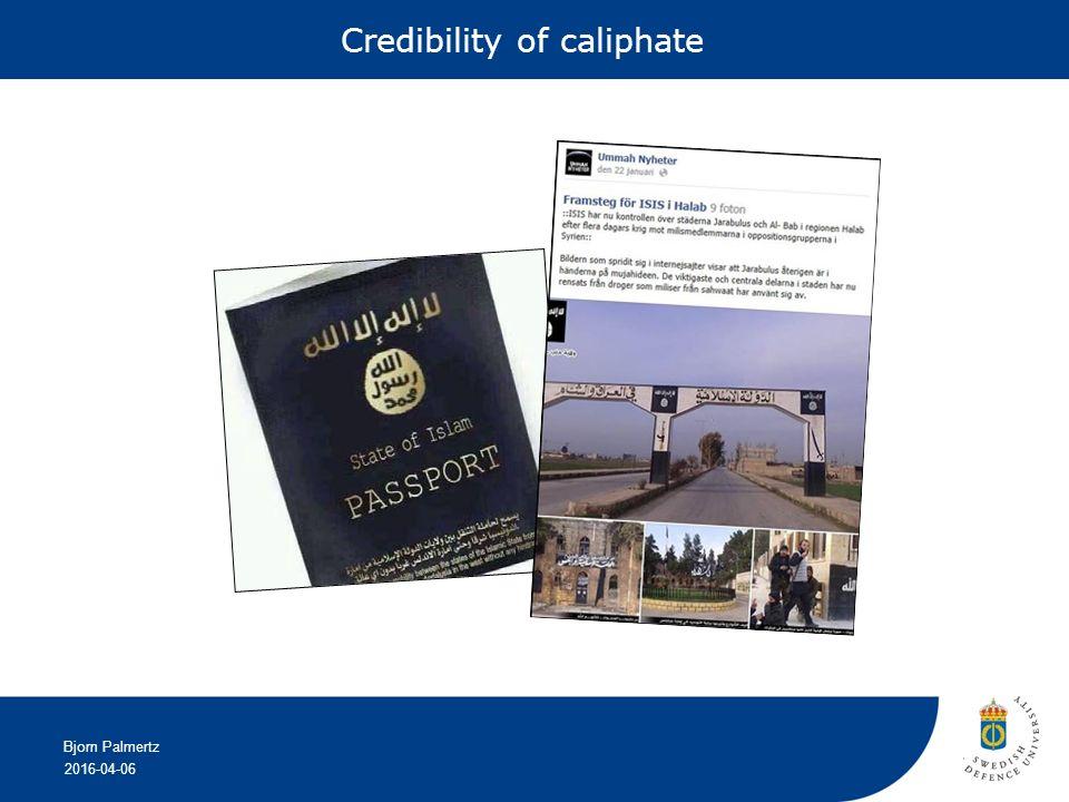 2016-04-06 Bjorn Palmertz Credibility of caliphate