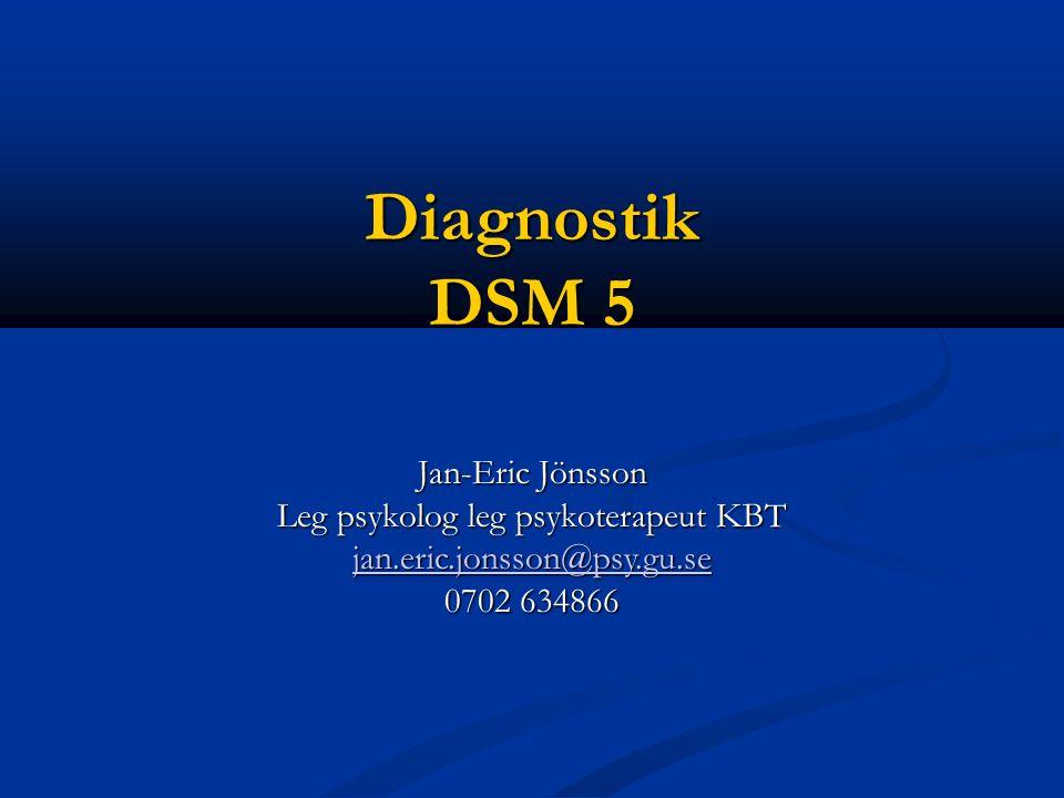 Diagnostik DSM 5 Jan-Eric Jönsson Leg psykolog leg psykoterapeut KBT jan.eric.jonsson@psy.gu.se 0702 634866