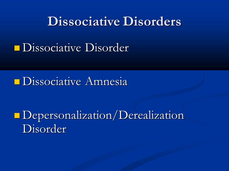 Dissociative Disorders Dissociative Disorder Dissociative Disorder Dissociative Amnesia Dissociative Amnesia Depersonalization/Derealization Disorder Depersonalization/Derealization Disorder