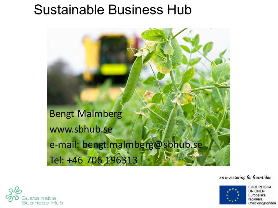 Bengt Malmberg www.sbhub.se e-mail: bengt.malmberg@sbhub.se Tel: +46 706 196313 Sustainable Business Hub