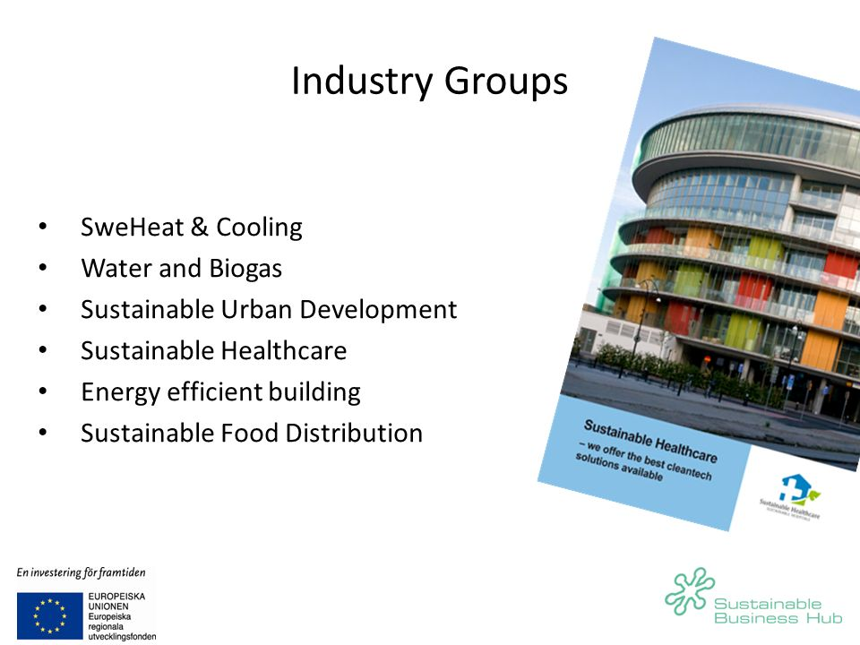 Industry Groups SweHeat & Cooling Water and Biogas Sustainable Urban Development Sustainable Healthcare Energy efficient building Sustainable Food Distribution