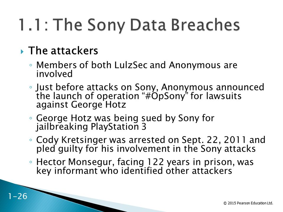 © 2015 Pearson Education Ltd.  The attackers ◦ Members of both LulzSec and Anonymous are involved ◦ Just before attacks on Sony, Anonymous announced