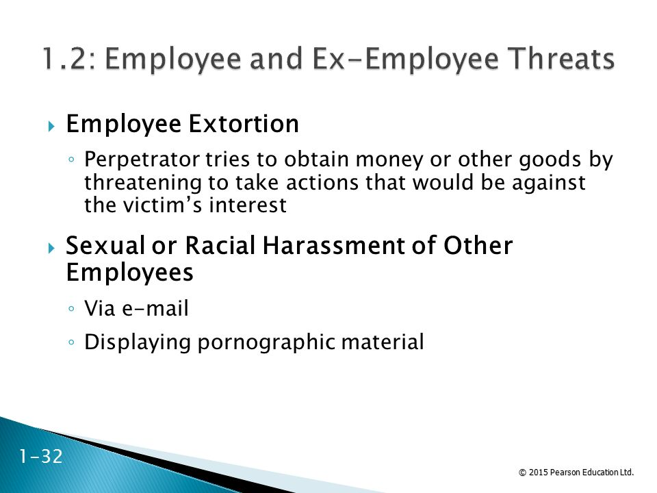 © 2015 Pearson Education Ltd.  Employee Extortion ◦ Perpetrator tries to obtain money or other goods by threatening to take actions that would be aga