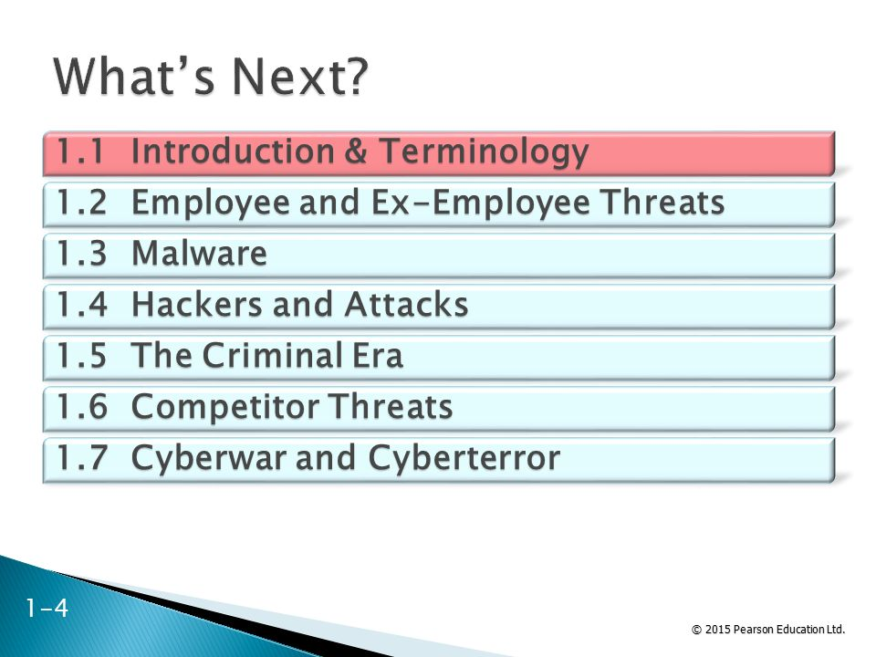© 2015 Pearson Education Ltd. 1.1 Introduction & Terminology 1.2 Employee and Ex-Employee Threats 1.3 Malware 1.4 Hackers and Attacks 1.5 The Criminal