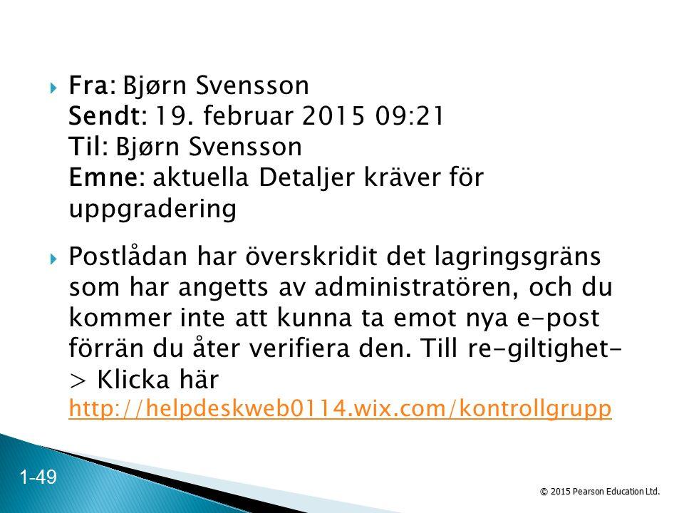 © 2015 Pearson Education Ltd.  Fra: Bjørn Svensson Sendt: 19.