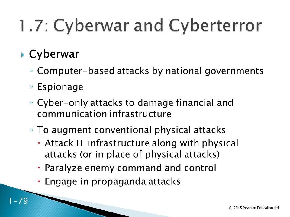 © 2015 Pearson Education Ltd.  Cyberwar ◦ Computer-based attacks by national governments ◦ Espionage ◦ Cyber-only attacks to damage financial and com