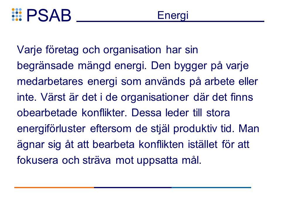 PSAB Energi Varje företag och organisation har sin begränsade mängd energi.