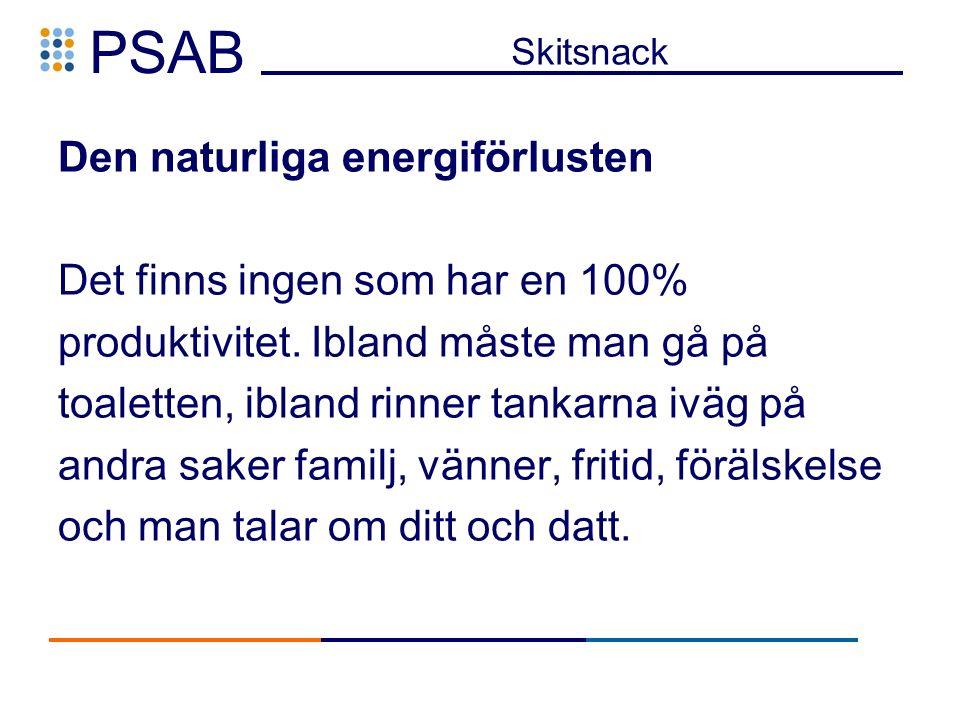 PSAB Skitsnack Den naturliga energiförlusten Det finns ingen som har en 100% produktivitet.