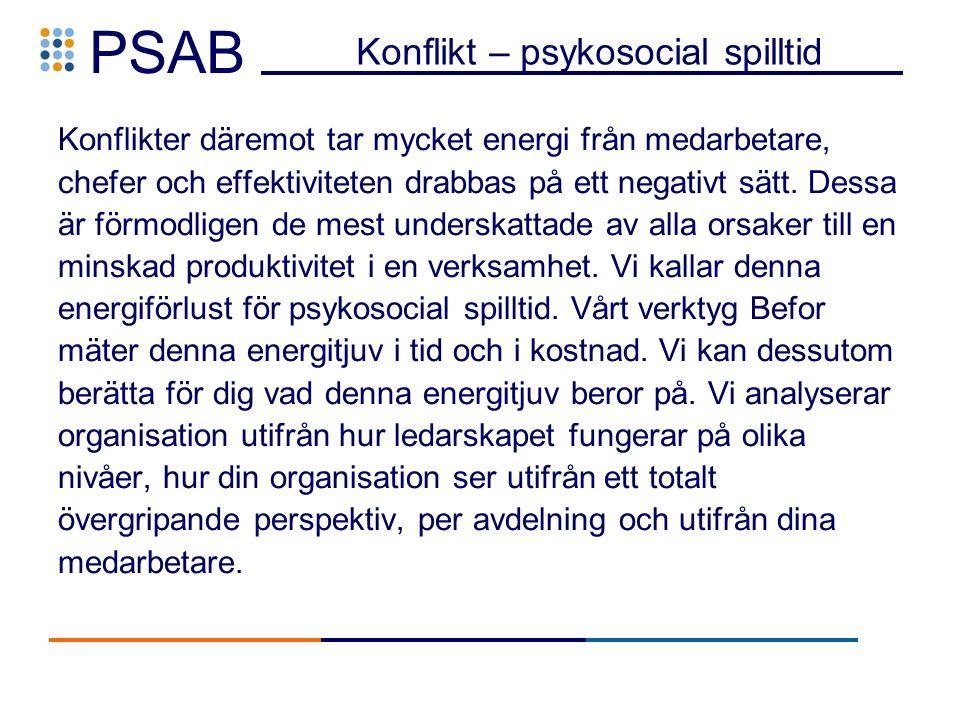 PSAB Konflikt – psykosocial spilltid Konflikter däremot tar mycket energi från medarbetare, chefer och effektiviteten drabbas på ett negativt sätt.