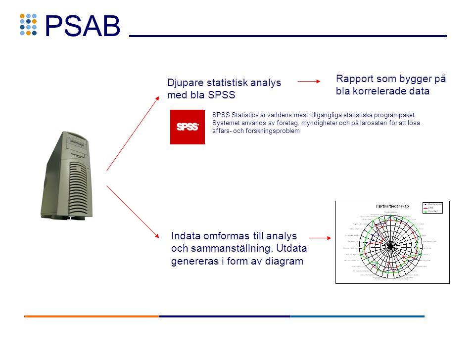 PSAB Djupare statistisk analys med bla SPSS Indata omformas till analys och sammanställning.