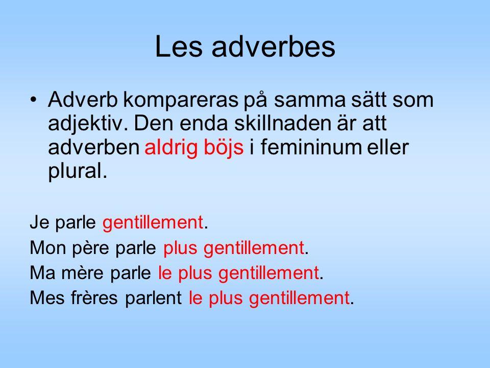 Les adverbes Adverb kompareras på samma sätt som adjektiv.
