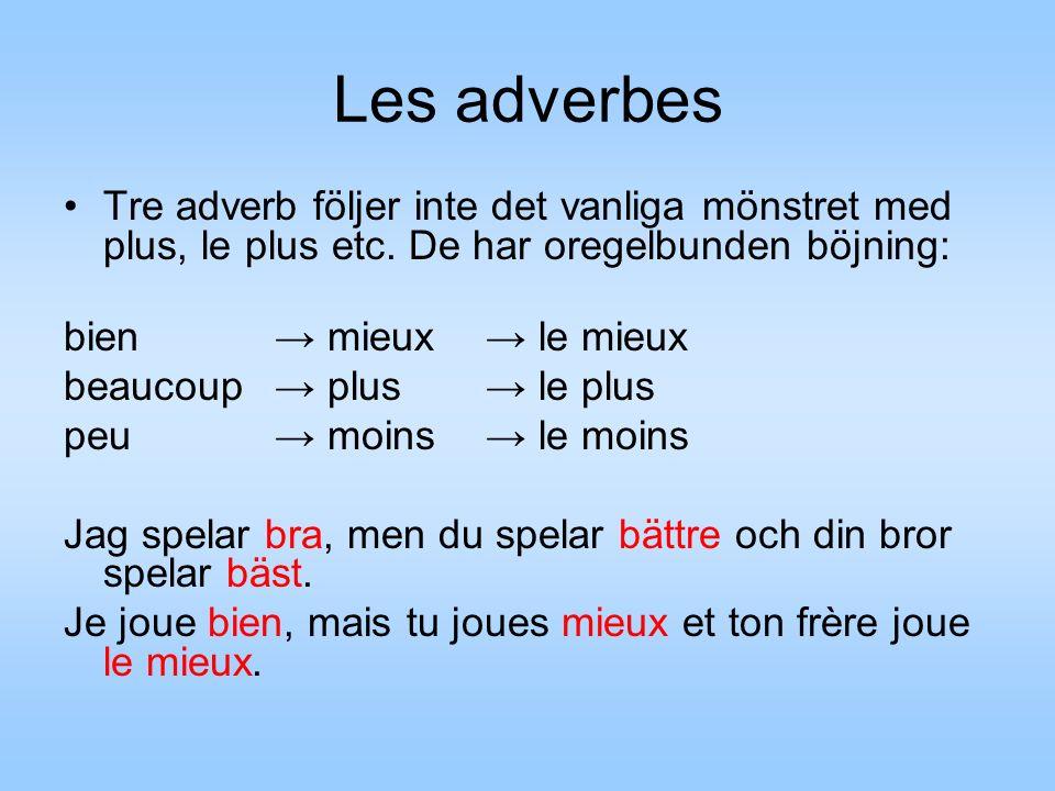 Les adverbes Tre adverb följer inte det vanliga mönstret med plus, le plus etc.