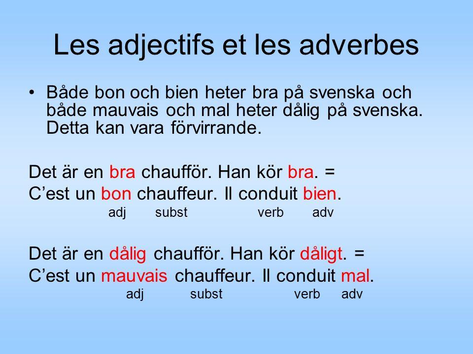 Les adjectifs et les adverbes Både bon och bien heter bra på svenska och både mauvais och mal heter dålig på svenska.