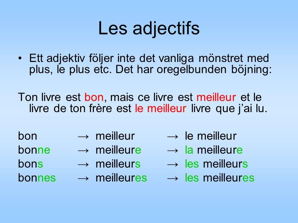 Les adjectifs Ett adjektiv följer inte det vanliga mönstret med plus, le plus etc.