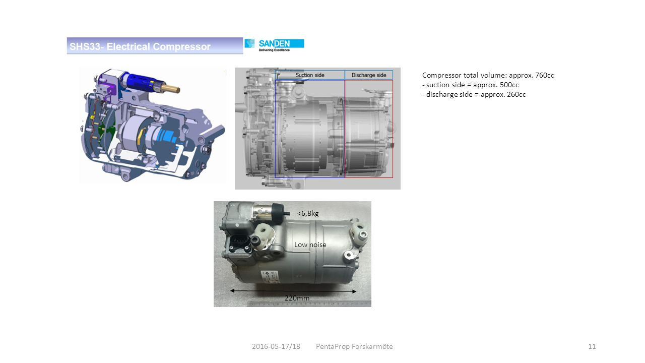 Compressor total volume: approx.760cc - suction side = approx.