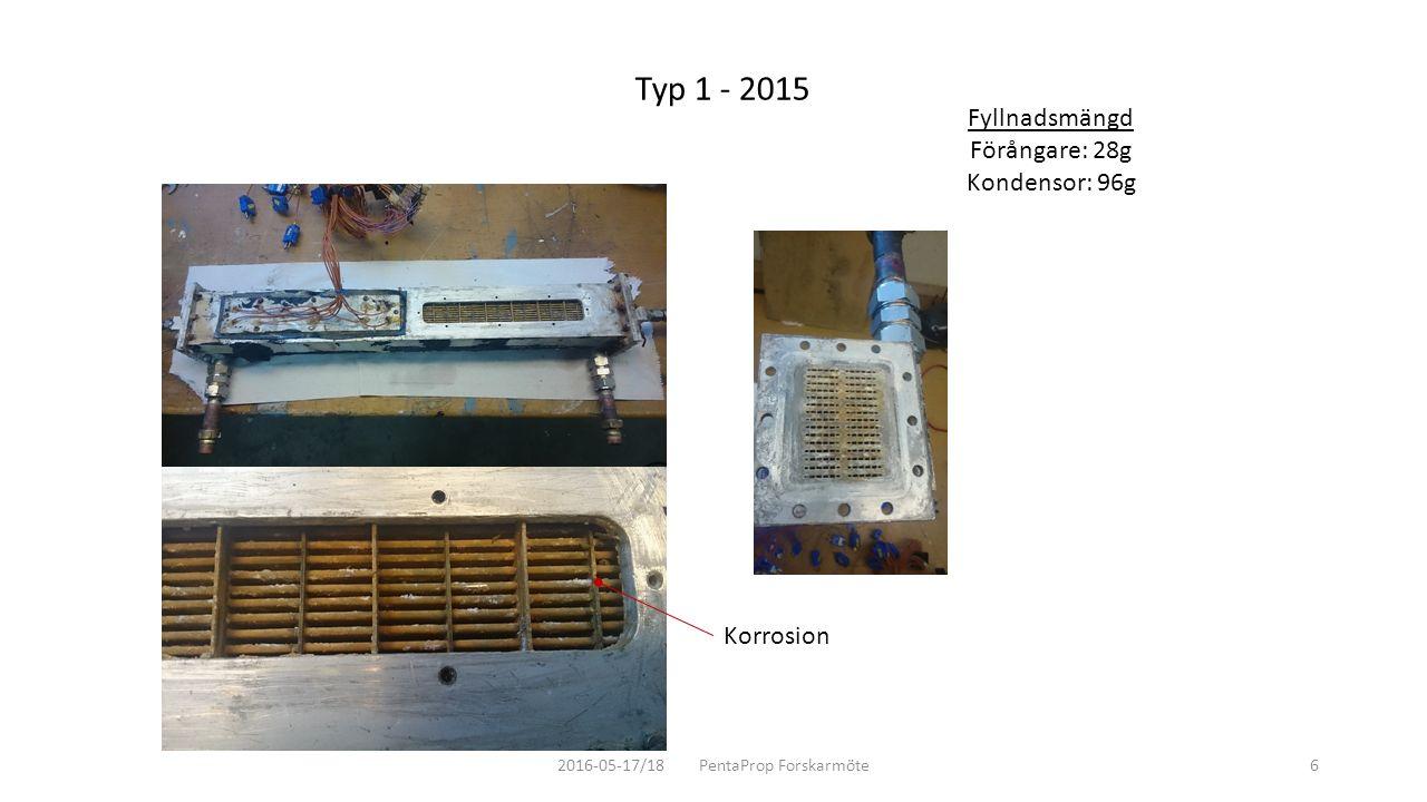 Typ 1 - 2015 Korrosion Fyllnadsmängd Förångare: 28g Kondensor: 96g 2016-05-17/18 PentaProp Forskarmöte6